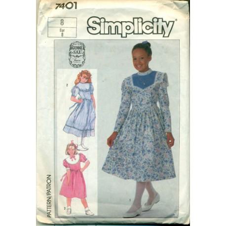 Vintage Girls Dress Sewing Pattern - Gunne Sax Simplicity No. 7401 ...