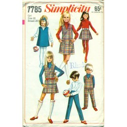 Vintage Girls Dress Shirt Skirt & Pants Sewing Pattern - Simplicity No 7785