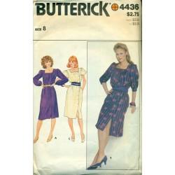 Vtg Butterick No. 4436 Sewing Pattern - Women's Day Dress Small