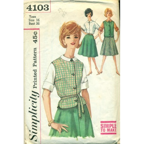 1960s Skirt Blouse & Sleeveless Top Sewing Pattern - Simplicity No. 4103