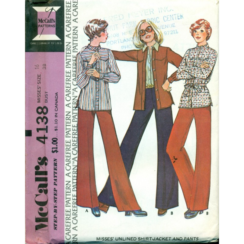 Vintage Womens Shirt Jacket Pants Sewing Pattern McCalls No Magnificent Pants Sewing Pattern
