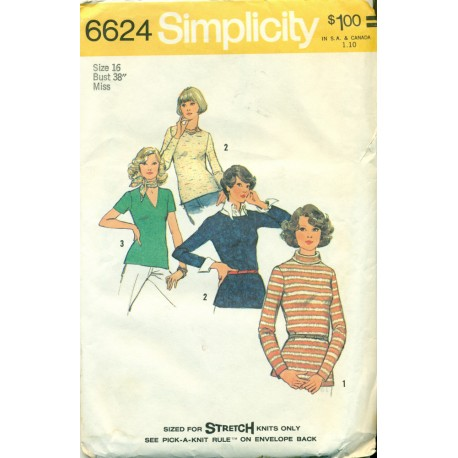 Vintage Womens Shirt Sewing Pattern Knits - 1970s Simplicity No 6624