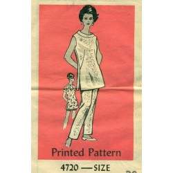 Vintage Womens Tunic Pants Dress Sewing Pattern - Anne Adams XLarge
