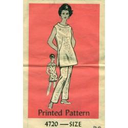 Vintage Womens Tunic Pants Dress Sewing Pattern - Anne Adams XLarge