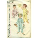 Vintage Childrens Pajamas Sewing Pattern - Simplicity No. 3377