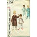 Vtg Childrens Pajamas & Robe Sewing Pattern - Simplicity No 4250