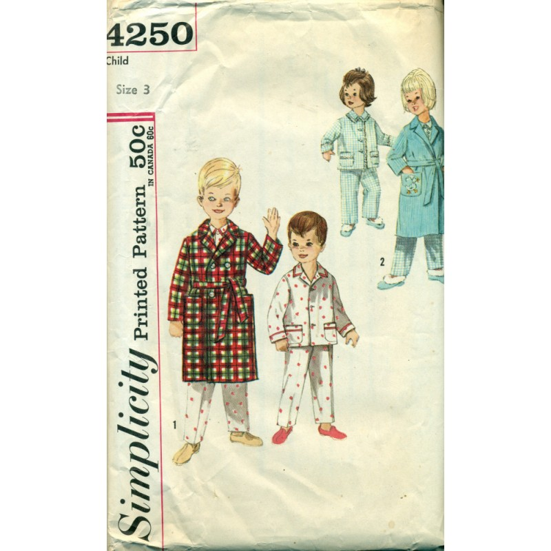 Vtg Childrens Pajamas & Robe Sewing Pattern - Simplicity No 4250 ...