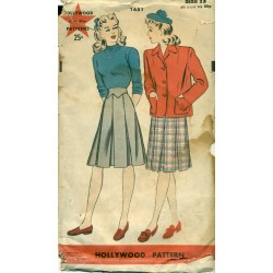 1940s Womens Pleated Skirt & Jacket Sewing Pattern - Hollywood No. 1451