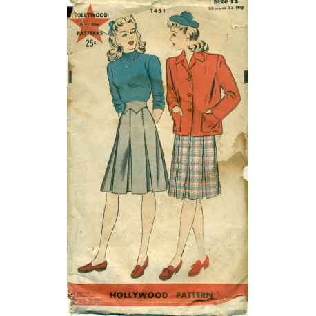 1940s Womens Pleated Skirt Amp Jacket Sewing Pattern