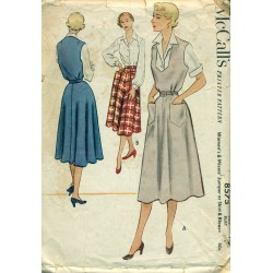1950s Womens Skirt Dress Jumper & Blouse Pattern - McCalls No. 8575