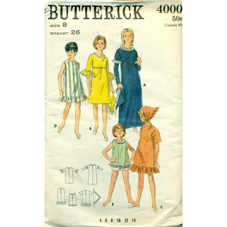 1960s Girls Casual Ruffled Dress Sewing Pattern - Butterick No. 4000