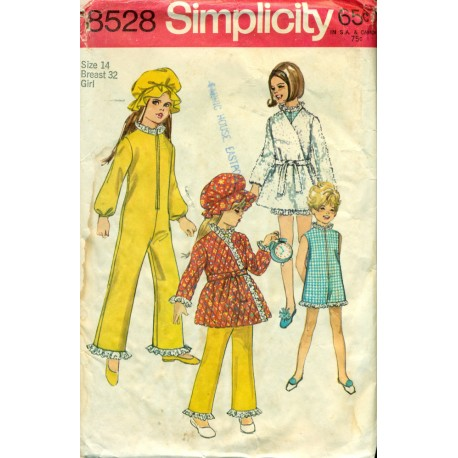 Vtg Childrens Pajamas Robe & Hat Sewing Pattern - Simplicity No 8528