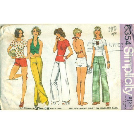 Halter TShirt Pants Pattern 6354