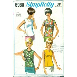 Vintage Womens Shirt Blouse Pattern - Simplicity No. 6930