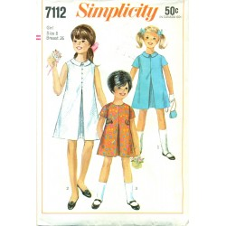 Vintage 1960s Girls A-Line Dress - Simplicity No. 7112