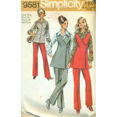 70s Pants Suit Sewing Pattern Half Size