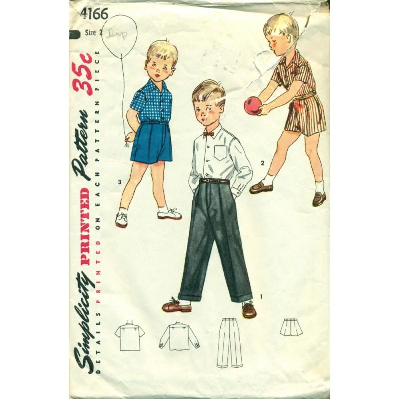 1950s Boys Shirt, Pants & Shorts Sewing Pattern - Simplicity No ...