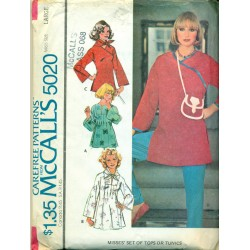 Vtg McCalls Sewing Pattern No. 5020 - Womens Peasant Shirt & Scarf