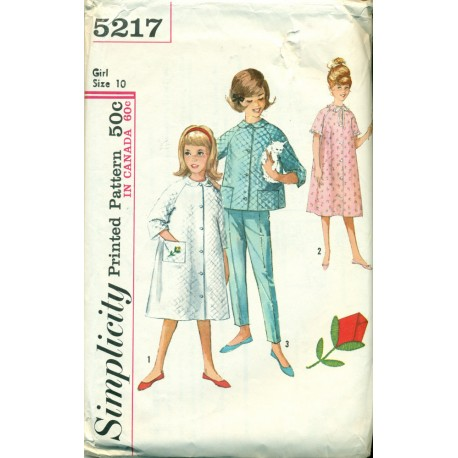 Vtg Childrens Pajamas Nightgown & Robe Sewing Pattern - Simplicity No 5217