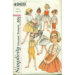 1960s Girls Dress Pants Shirt & Scarf Sewing Pattern - Simplicity No. 4969