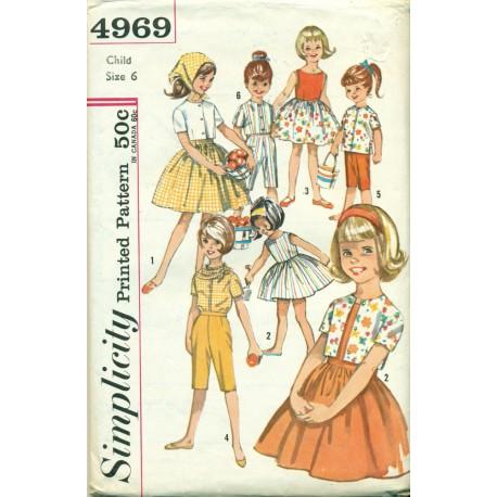 1960s Girls Dress Pants Shirt & Scarf Sewing Pattern - Simplicity No. 4969