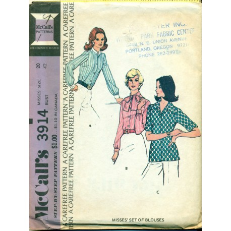 Vtg McCalls Sewing Pattern No. 3914 - Womens Shirt