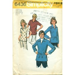 Vintage Mens & Womens Pullover Shirt Sewing Pattern - Simplicity No 6436