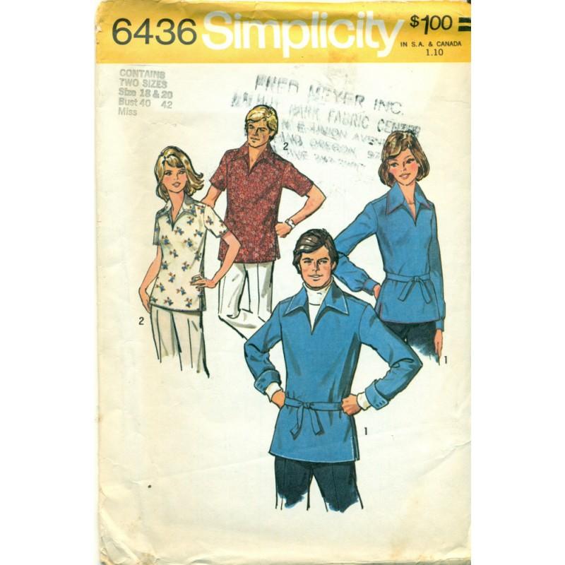 Vintage Mens & Womens Pullover Shirt Sewing Pattern - Simplicity No ...