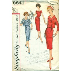 Vintage Womens Wiggle Dress w/ Jacket Sewing Pattern - Simplicity No. 2841