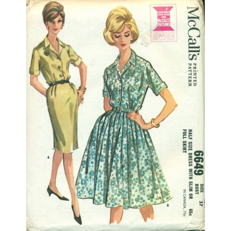 1960s Wiggle Dress & Full Skirt Dress Sewing Pattern - McCalls No. 6649