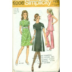 1970s Womens Pants Suit & Dress Sewing Pattern - Simplicity No. 9206 Lrg