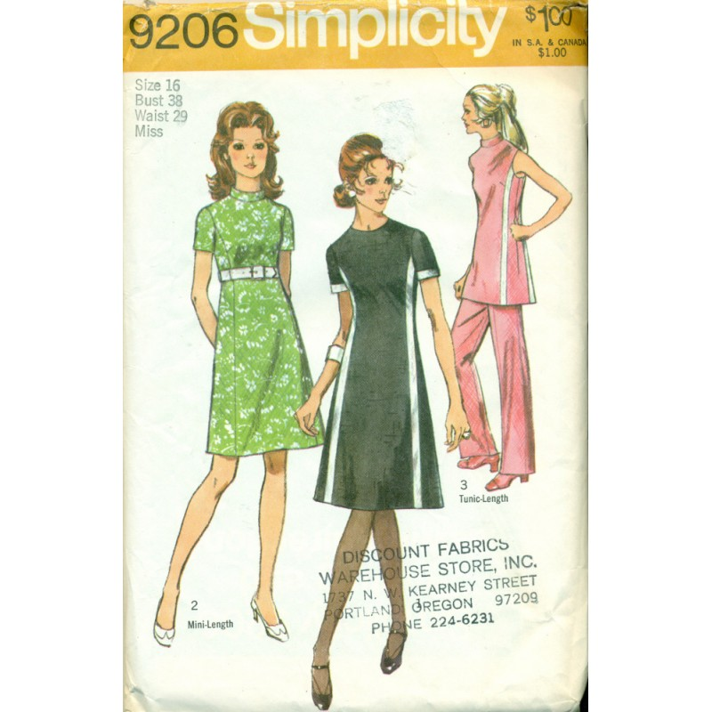 1970s Womens Pants Suit & Dress Sewing Pattern - Simplicity No. 9206 ...