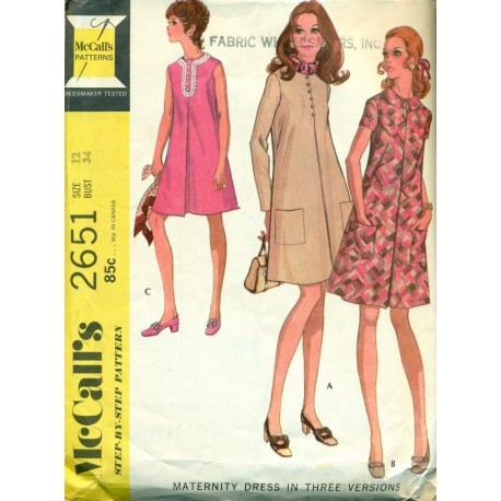 Vintage Maternity Dresses Sewing Pattern - McCalls No. 2651