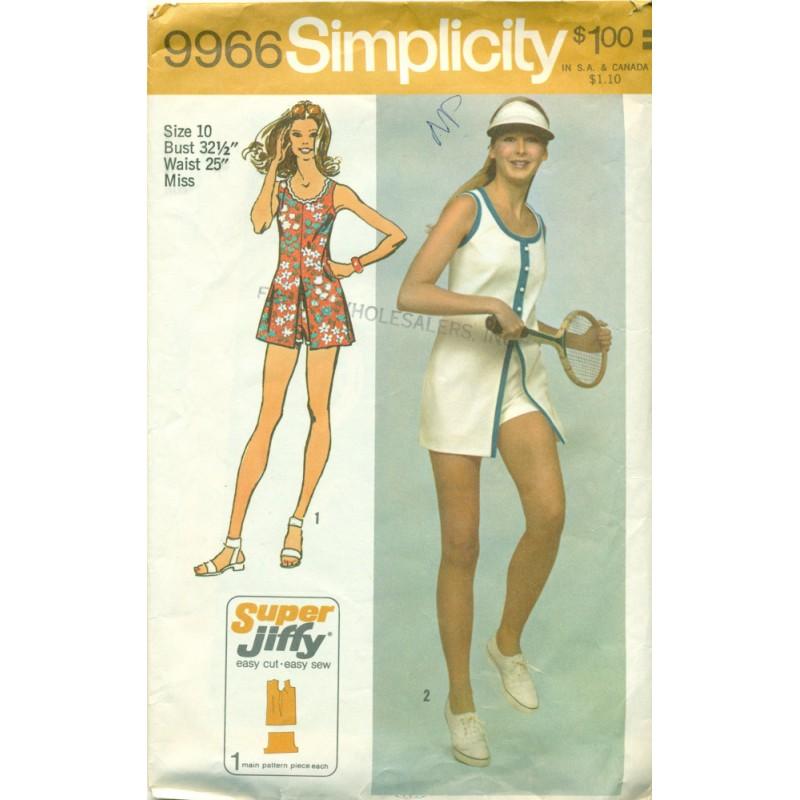 Vintage Short Dress & Shorts Sewing Pattern - Simplicity No. 9966 ...