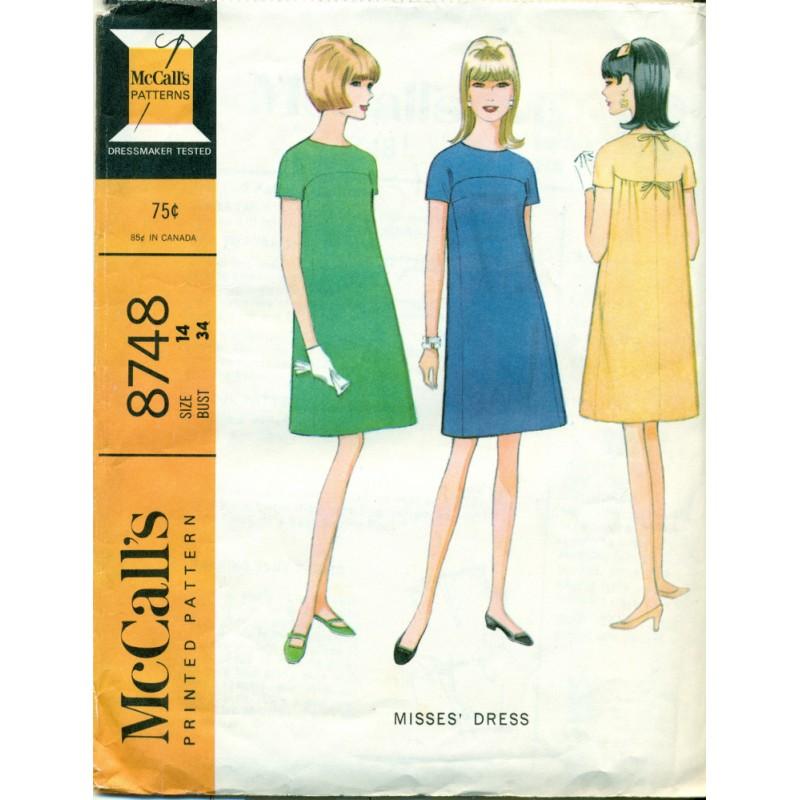 Vintage mccalls sewing pattern no 8748 mod dress angel elegance