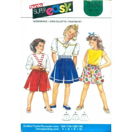 Girls Sewing Pattern Pantskirt Shorts - Burda No. 5180 1980s