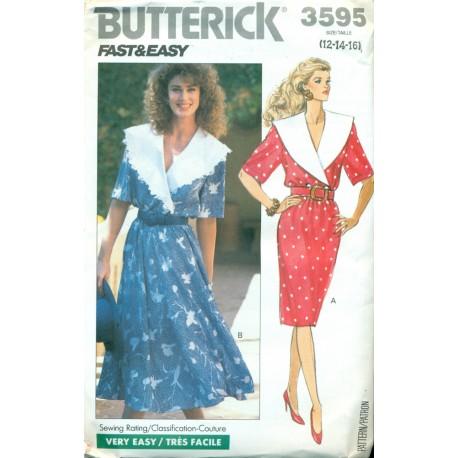 Retro Dress Pattern w/ Full & Slim Skirt - Butterick No. 3595 ...