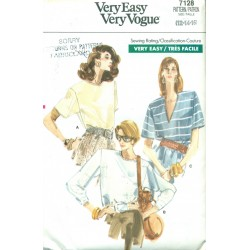 Retro Womens Pullover Shirt Sewing Pattern - Vogue No. 7128