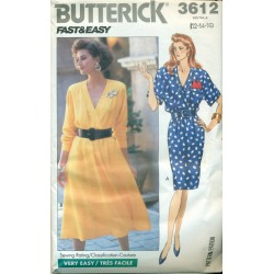 Dress Pattern w/ Full & Slim Skirt - Vintage Butterick No. 3612
