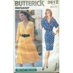 Dress Pattern w/ Full & Slim Skirt - Vintage Butterick No. 3612