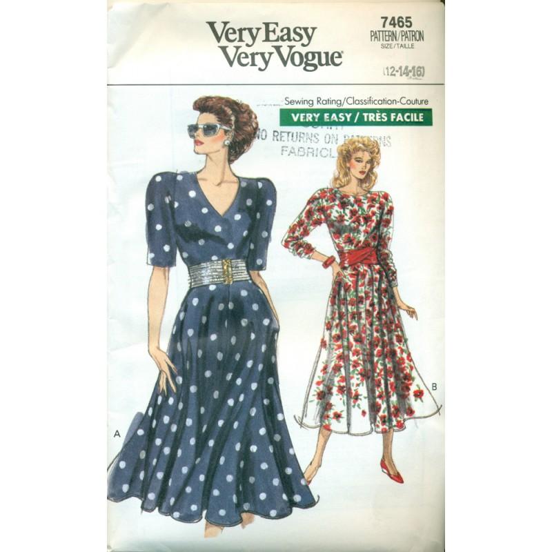 Dress Pattern W Full Skirt Vogue No 7465 Angel