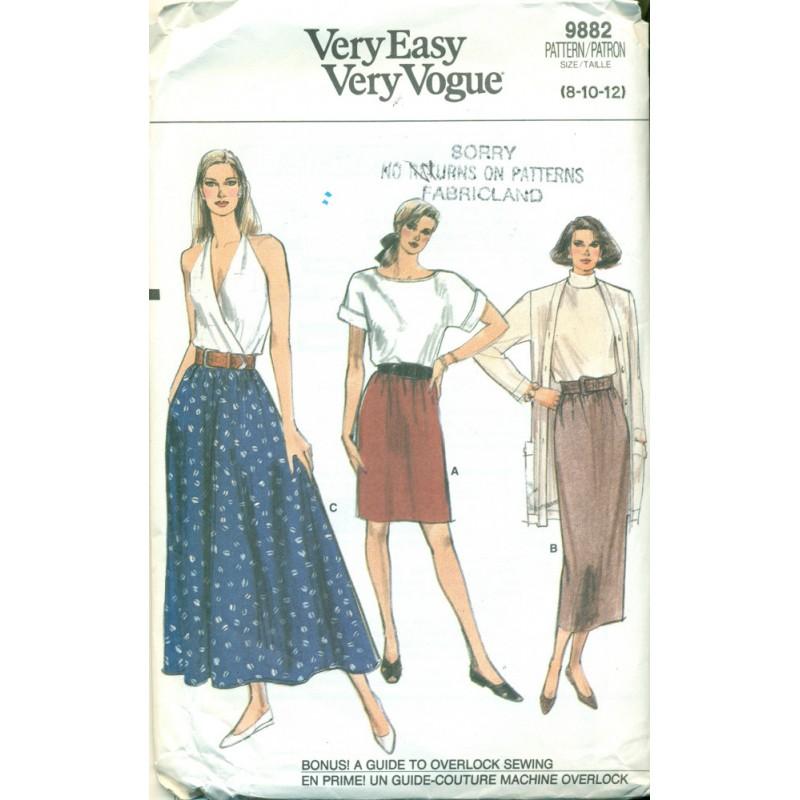 Retro Pencil Skirt Full Gathered Skirt Sewing Pattern Vogue No