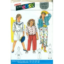 Girls Sewing Pattern - Pants Culottes Jacket Shirt & Tank Top