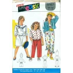 Girls Sewing Pattern - Pants Culottes Jacket Shirt & Tank Top