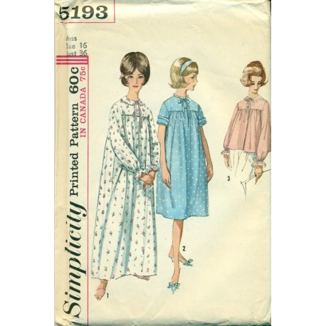 Vintage Nightgown Pattern & Bed Jacket Medium