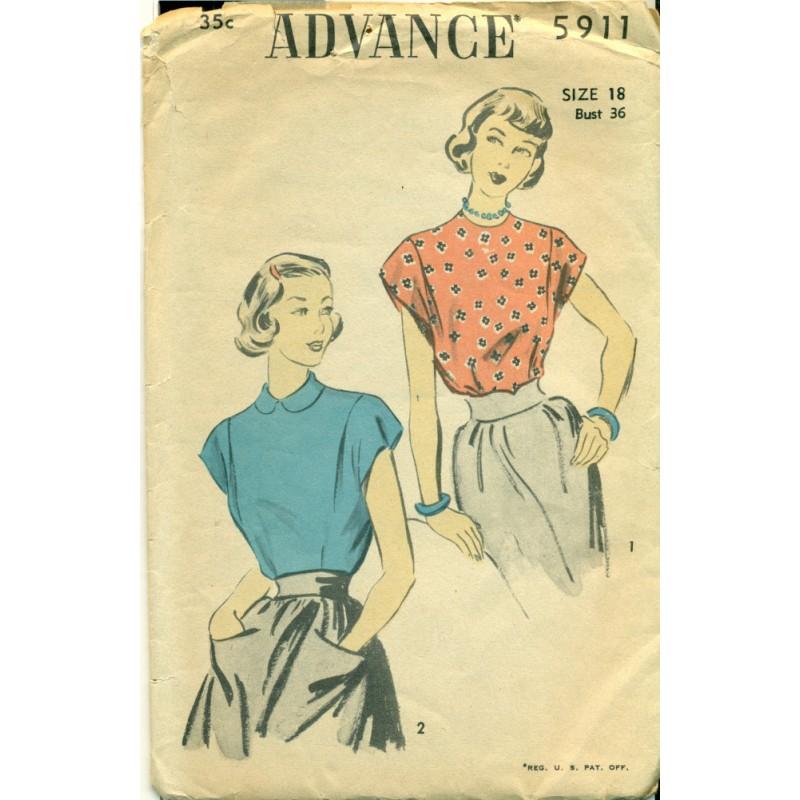 Womens Blouse Shirt Sewing Pattern Advance Medium Angel