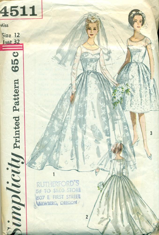 Bridal Dress Pattern Vintage Simplicity - XS - Angel Elegance Vintage