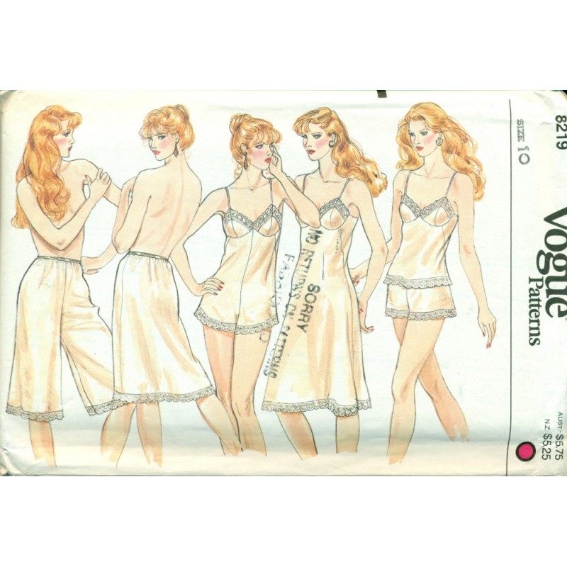 Lingerie Sewing Pattern - Full & Half Slip Panties Camisole Teddy ...
