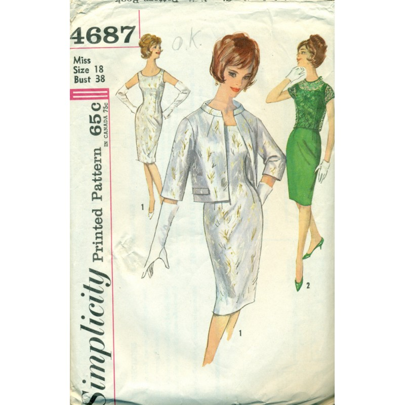 Womens Wiggle Dress & Jacket Sewing Pattern - Simplicity - Angel ...