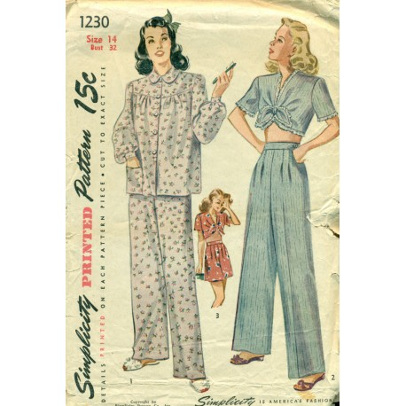 Womens Pajamas Sewing Pattern & Midriff Top - Simplicity